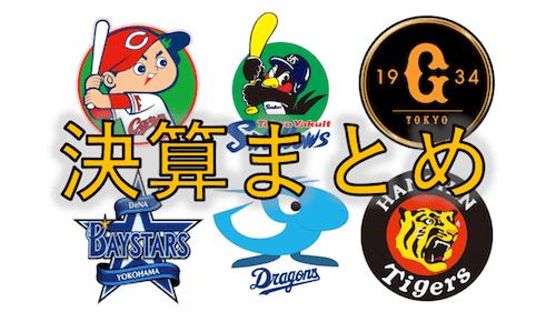 【最新版 決算まとめ】プロ野球 セ・リーグの6球団の決算